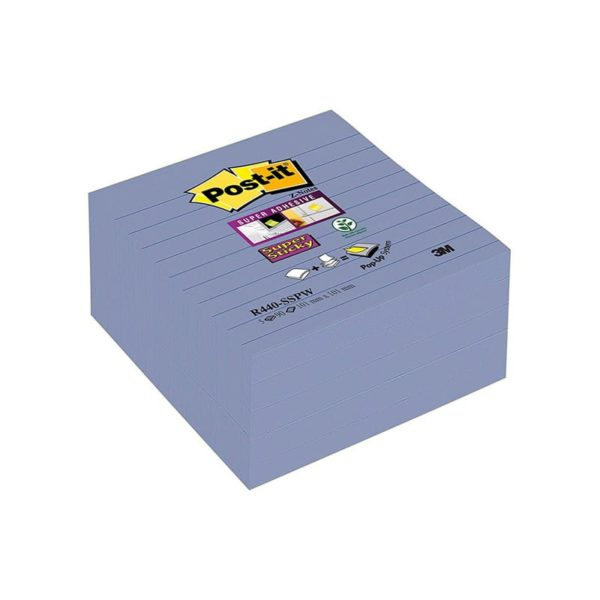 3m R440sspw Post It Super Sticky Z Notes 101x101mm Ruled Periw 3mr440sspw
